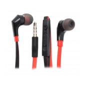 Hands Free Ancus in-Earbud Stereo 3.5 mm Black - Red with On/Off Button and Volume Control