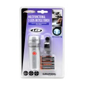 Grundig Bicycle Multifunctional Torch 6 Led Silver Including 4 ΑΑΑ Batteries
