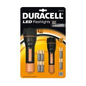Led Flashlight Set 2 Pieces Duracell with Batteries AA 6 pcs