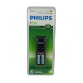 Battery Charger Philips Mini for AA & AAA with Batteries 2 x AAA 800 mAh