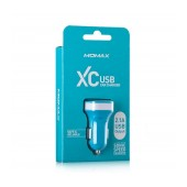 Momax XC Car Charger with output 5V 2100 mAh USB Port Blue