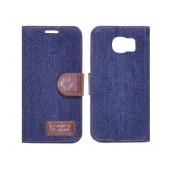 Book Case Ancus Teneo Fabric for Samsung SM-G920F Galaxy S6 Dark Blue