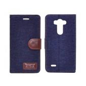 Book Case Ancus Teneo Fabric for LG G3 D855 Dark Blue