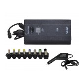 Universal Power Adapter Laptop - Tablet Soune 505L 100W with Lcd, Car Adapter and Usb Black