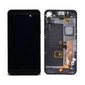 Original LCD with Digitizer for Blackberry Z10 4G Black with Frame, Receiver, Motor, Jack Connector and On/Off Button