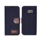 Book Case Ancus Teneo Fabric for Samsung SM-G925F Galaxy S6 Edge Dark Blue