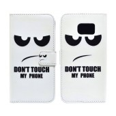 Book Case Ancus Art Collection for Samsung SM-G925 Galaxy S6 Edge Don't Touch My Phone