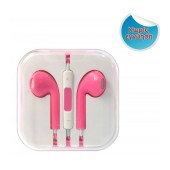 Hands Free D5 Stereo for Apple-Samsung-HTC-BlackBerry-LG 3.5 mm with Remote Pink - White