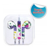 Hands Free Art Collection Stereo for Apple-Samsung-HTC-BlackBerry-LG 3.5 mm with Remote Flower