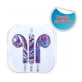 Hands Free Art Collection Stereo for Apple-Samsung-HTC-BlackBerry-LG 3.5 mm with Remote Purple Stripes