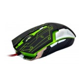 Wired Mouse R-horse RH-1990 Robocop Series 5 Button 3200 DPI Black - Green (120*70*35mm)