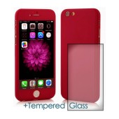 360 Protect Case Ancus for Apple iPhone 6/6S Red with Tempered Glass Screen Protector 0.20mm