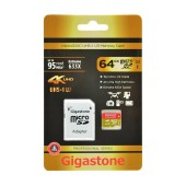 Flash Memory Card Gigastone MicroSDXC UHS-I U3 64GB U3 Extreme 633X Professional Series with Adapter