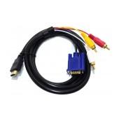 Data Cable Jasper HDMI 1.4 A Male To 3 RCA + VGA Male 1.8m Black